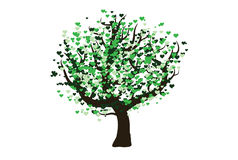 Green vector tree with hearts Stock Photo