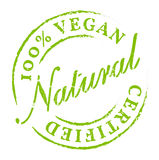 Green 100% Vegan All Natural Icon. Sticker, Badge. Eco product symbol, disstressed natural rubber stamp on white background. Sign of product fresh and healthy Stock Photo