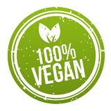 Green 100% Vegan Badge Button. Eps10 Vector. Green 100% Vegan Badge Button. Eps10 Vector banner Royalty Free Stock Photography