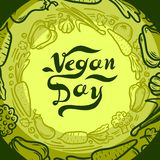 Green vegan day concept background, hand drawn style royalty free illustration