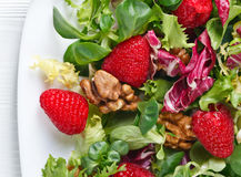 Green vegan salad with raspberry and nuts Stock Images