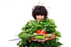 Green vegetable girl. Is smiling Stock Image