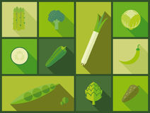 Green vegetable icons vector illustration Royalty Free Stock Photo