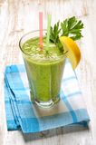 Green vegetable juice. In glass Stock Photo