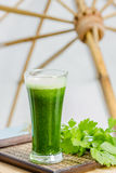 Green vegetable juice with fresh celery Stock Image
