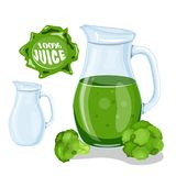 Green vegetable juice smoothie. Glass tumbler juice cabbage. Flat style. Vector illustration. Healthy organic fruit drink, cocktail, lemonade for healthy life stock illustration