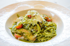 Green vegetable noodle Royalty Free Stock Photos
