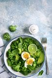 Green vegetable salad with avocado, broccoli, pea and boiled eggs on a light blue slate, stone or concrete background.Top view stock photography