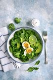 Green vegetable salad with avocado, broccoli, pea and boiled eggs on a light blue slate, stone or concrete background.Top view royalty free stock photography