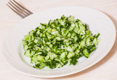 Green vegetable salad of cucumbers, spring onion Stock Photography
