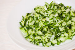 Green vegetable salad of cucumbers, spring onion Stock Photos