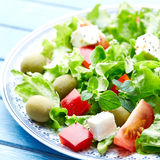 Green Vegetable Salad with Lettuce, Tomatoes, Pepper, Olives and Feta Stock Image