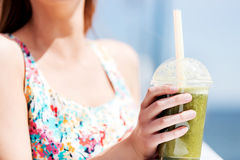 Green vegetable smoothie - healthy eating concept. Royalty Free Stock Image