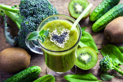 Green vegetable smoothie royalty free stock images