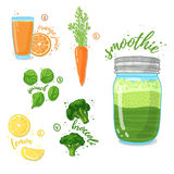 Green vegetable smoothie from spinach, broccoli, carrots for a healthy diet. Cocktail in a glass jar. Cocktail for Stock Images