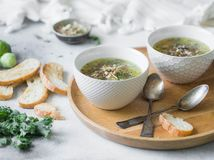 Green vegetable vegan soup from keil, brussels sprouts, zucchini, leek with various germinated seeds and sprouts with croutons on. Wood tray on light background royalty free stock photography