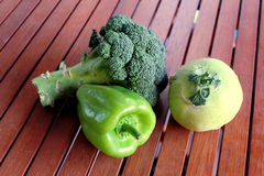 Green vegetables. Including broccoli pepper and kohlrabi Royalty Free Stock Image