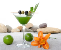 Green vegetables cocktail in a environment of sand and pebble st Royalty Free Stock Photography