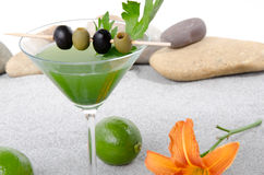 Green vegetables cocktail in a environment of sand and pebble st Royalty Free Stock Photo