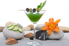 Green vegetables cocktail in a environment of sand and pebble st Royalty Free Stock Photos