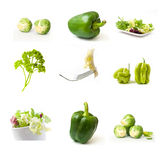 Green vegetables collage Stock Photos
