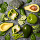 Green vegetables composition on concrete background. Royalty Free Stock Photography