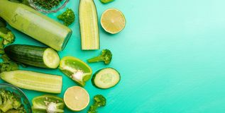 Green vegetables. For cooking healthy and wholesome food. Healthy green vegan cooking ingredients. Banner for design. Top view, stock image