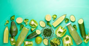 Green vegetables. For cooking healthy and wholesome food. Healthy green vegan cooking ingredients. Banner for design. Top view, royalty free stock photo