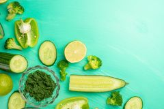 Green vegetables. For cooking healthy and wholesome food. Healthy green vegan cooking ingredients. Banner for design. Top view, royalty free stock images