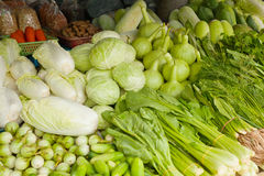 Green vegetables on the counter market Royalty Free Stock Photo