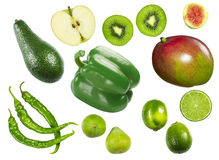 Green vegetables and fruits Royalty Free Stock Images