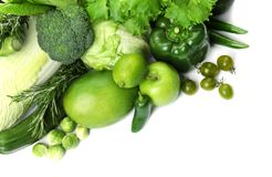 Green vegetables and fruits on white background. Food photography Royalty Free Stock Photography