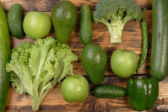 Green vegetables and fruits Stock Images