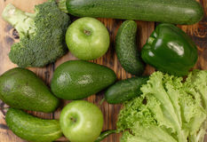 Green vegetables and fruits Stock Photo
