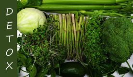 green vegetables, greens diet, cleansing the body, healthy eating. Top view with copy space royalty free stock photo
