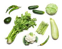 Green vegetables isolated on white top view Stock Images