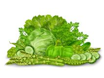 Green vegetables mix on white Stock Images