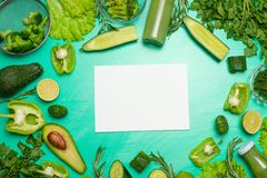 Green vegetables with a note book for the inscription. To prepare a healthy and healthy meal. Healthy green vegan cooking stock images