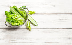 Green vegetables salad kitchen table. Fresh food detox Stock Photos