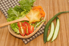 green vegetables  salad with star fruit Royalty Free Stock Photo