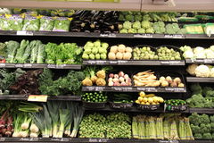 Green vegetables. Section in a grocery store Royalty Free Stock Photos