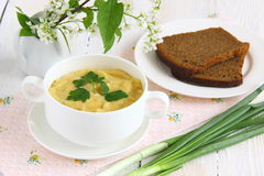 Green vegetables soup puree. Delicious vegetable soup with Celery, broccoli  and parsley stock photo