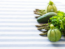 Green vegetables on table cloth Royalty Free Stock Photo