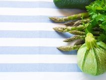 Green vegetables on table cloth Stock Image