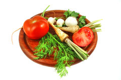 Green vegetables with tomato Stock Images