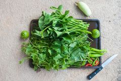 Green vegetables in a tray Stock Photo