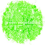 Green vegetables watercolor background Stock Image