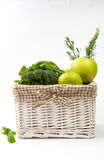 green vegetables on white background royalty free stock photography
