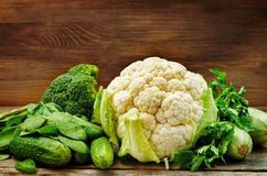 Green vegetables. zucchini, cucumber, spinach, cauliflower, broc Royalty Free Stock Photos