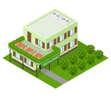 Green vegetarian restaurant. Flat isometric. Royalty Free Stock Photography